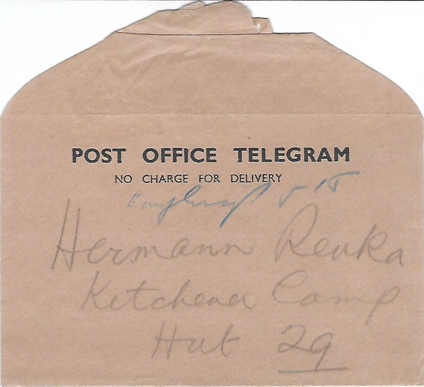 Kitchener camp, Hermann Renkazischock, Post Office Telegram envelope, Hut 29