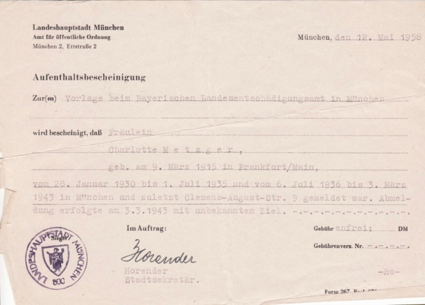Kitchener camp, Richborough, Max Metzger, ITS Documents from the Wiener Library, Munich 1958, Charlotte Metzger, deregistration took place on 3 March 1943, with an unknown destination