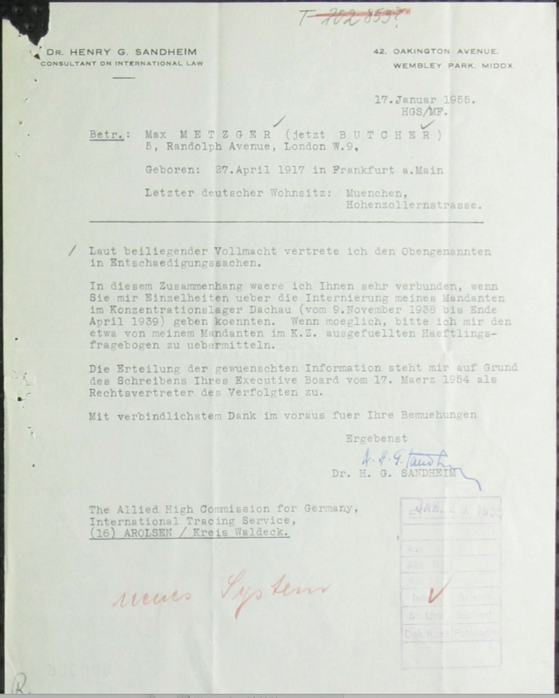 Kitchener camp, Richborough, Max Metzger, KL Dachau, 9 November 1938 to 12 April 1939, Allied High Commission for Germany, ITS Documents from the Wiener Library