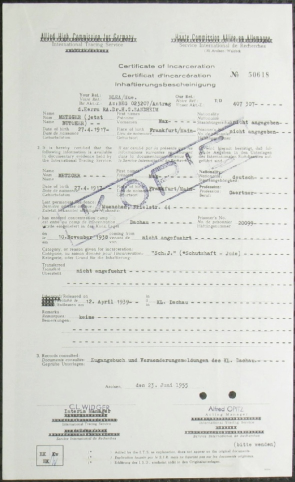 Kitchener camp, Richborough, Max Metzger, KL Dachau, 10 November 1938, Allied High Commission for Germany, ITS Documents from the Wiener Library