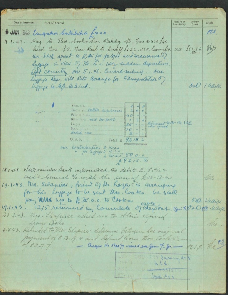 Kitchener camp, Lieb Lazar, German Jewish Aid Committee green form, 1942-1943, page 2