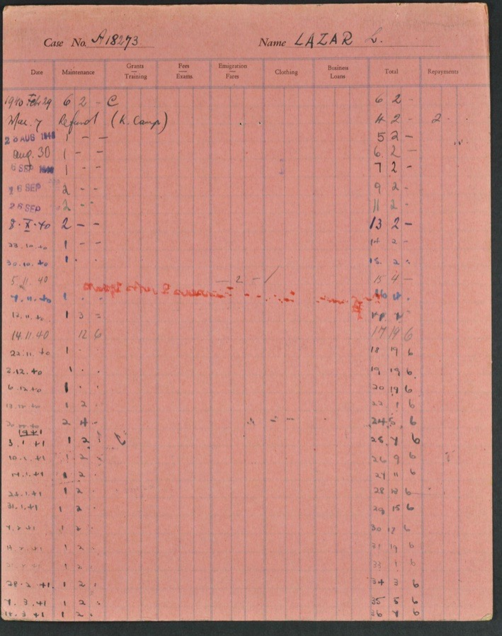 Kitchener camp, Lieb Lazar, German Jewish Aid Committee pink expenses form, 1940s, page 2