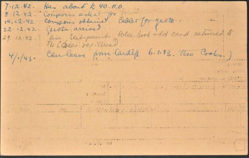 Kitchener camp, Lieb Lazar, German Jewish Aid Committee, Leaving card, 1943, reverse