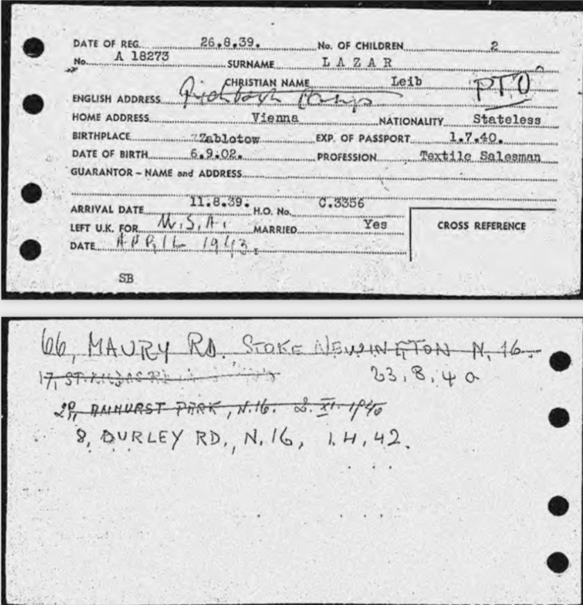 Kitchener camp, Lieb Lazar, German Jewish Aid Committee, Arrival card, Arrival date 11 August 1939