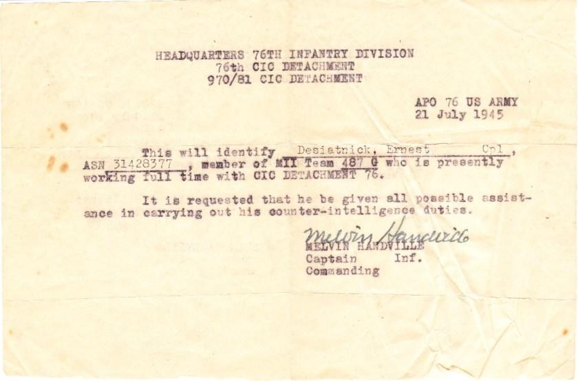 Ernst Ernst and Alice Desiatnik, HQ 76th Infantry Division, CIC detatchment, Counter-intelligence duties, 21 July 1945