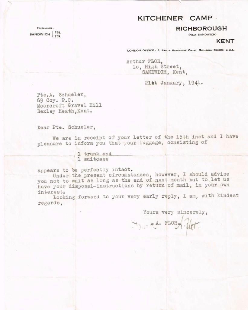 Kitchener camp, Alfons Schueler, Letter, Luggage, 21 January 1941