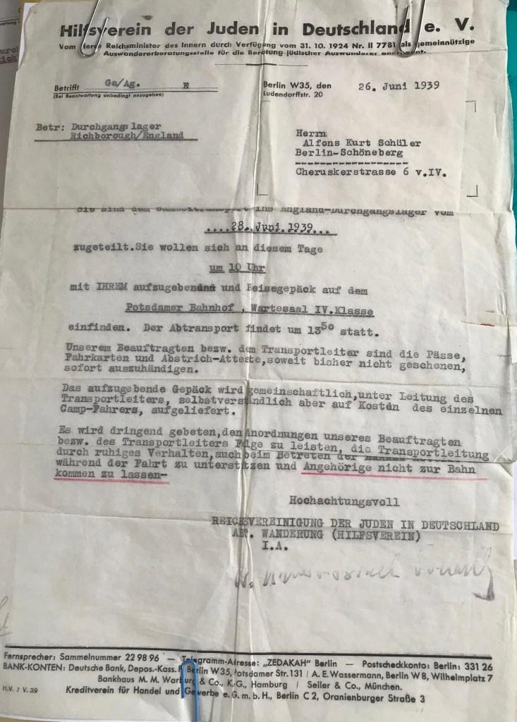 Kitchener camp, Alfons Schüler, Hilfsverein der Juden in Deutschland, Letter, Durchgangslager Richborough, To leave on 28 June 1939 from Potsdam station, 26 June 1939