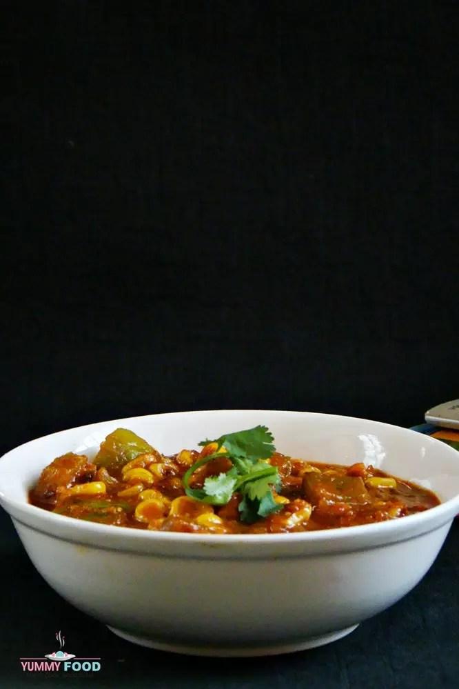 corn capsicum masala recipe | corn capsicum sabzi | corn capsicum gravy