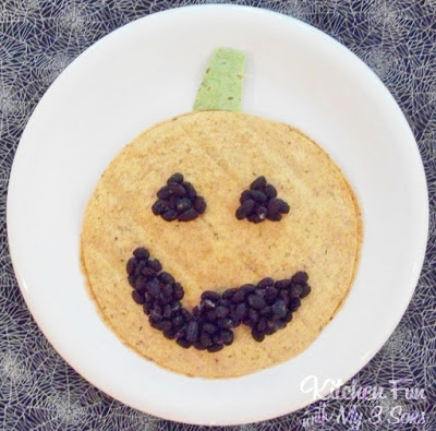 Halloween Pumpkin Quesadilla Dinner for Kids from KitchenFunWithMy3Sons.com