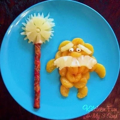 The Lorax Fruit Snack - your little Dr. Seuss fans are going to love this fun & healthy snack from KitchenFunWithMy3Sons.com