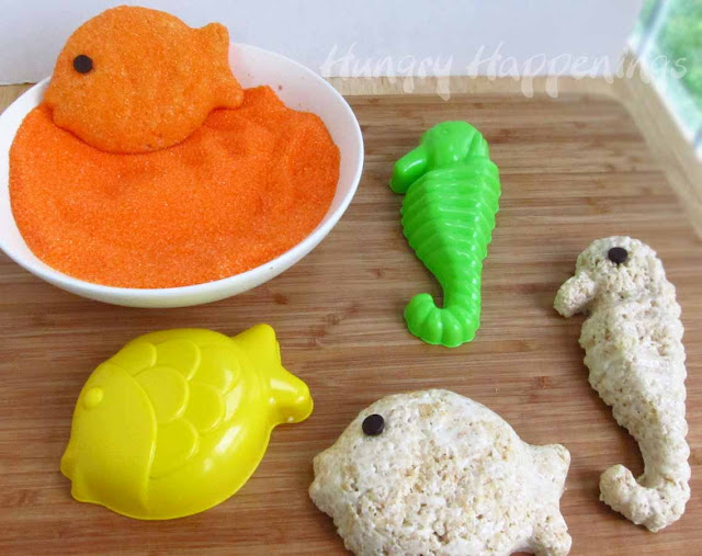 Rice Krispie Animals & Sea Life Creature Treats using Beach Sand Molds....such a great idea for a Summer Party!