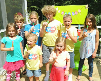 Here are a few of the kids at our party enjoying their Popsicle's