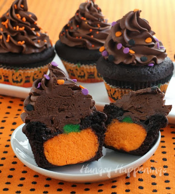Chocolate Pumpkin Cheesecake Stuffed Cupcakes