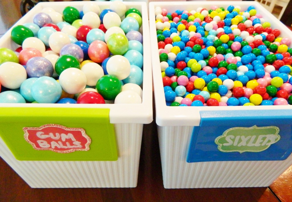 This is our containers for Gum Balls & Sixlets