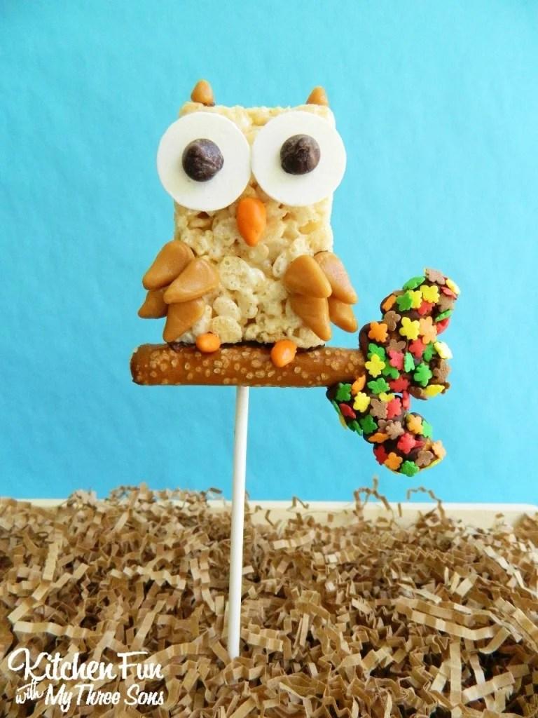 Fall Owl Rice Krispie Treat Pops