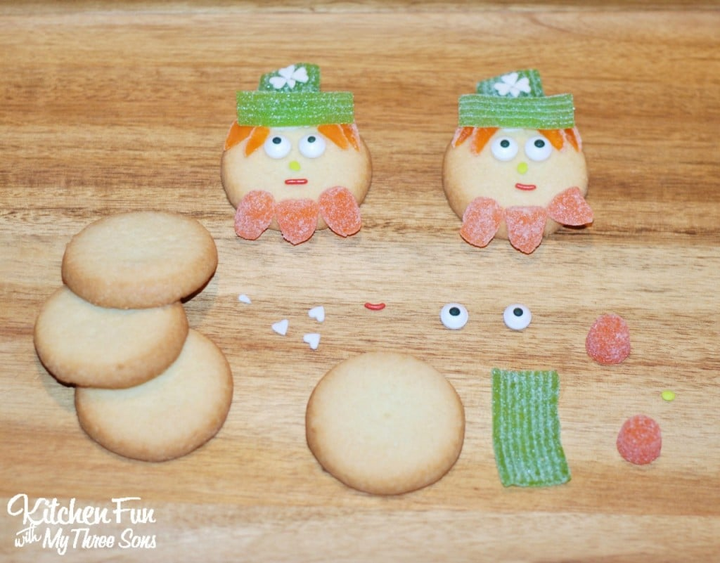 Easy St. Patrick's Day Leprechaun Cookies using premade cookies & gumdrops! KitchenFunWithMy3Sons.com