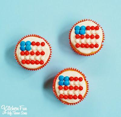 Patriotic American Flag Candy Cupcakes