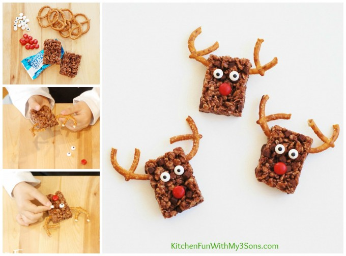 Rudolph the Red Nose Reindeer Chocolate Rice Krispie Treats for Christmas using only 4 ingredients...so easy from KitchenFunWithMy3Sons.com