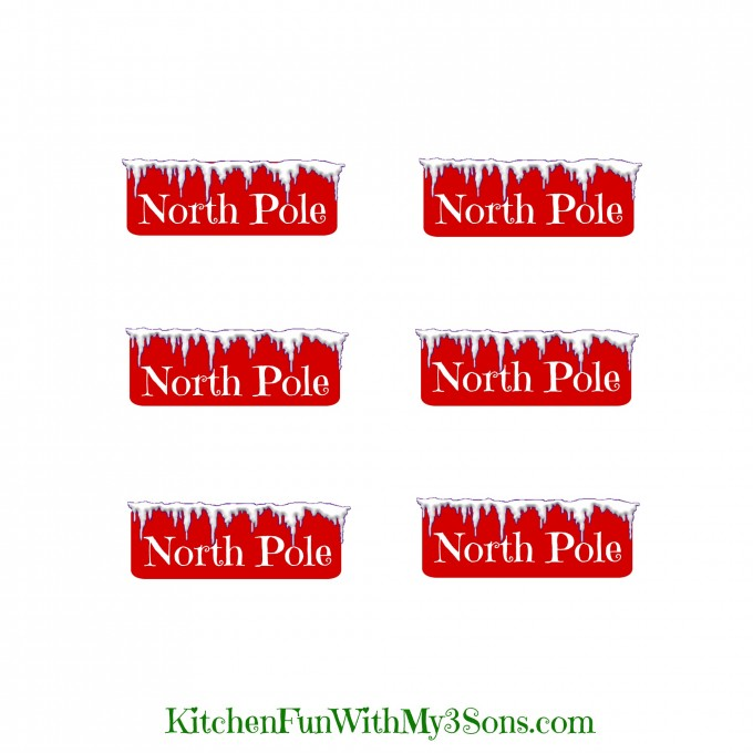 Christmas North Pole Cheese Stick Snacks with a Free Printable! KitchenFunWithMy3Sons.com