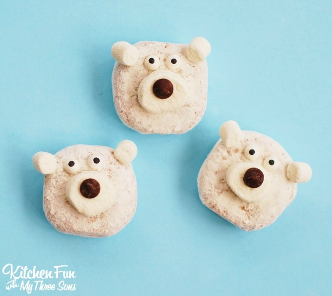 Easy Christmas Polar Bear Mini Donuts from KitchenFunWithMy3Sons.com
