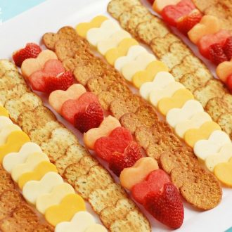 Valentine's Day Fruit & Cheese Heart Platter for a fun Valentine appetizer from KitchenFunWithMy3Sons.com