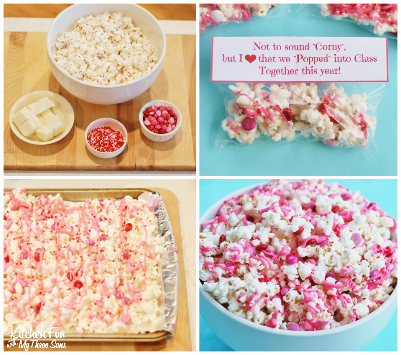Valentines Day Snack White Chocolate Popcorn With A