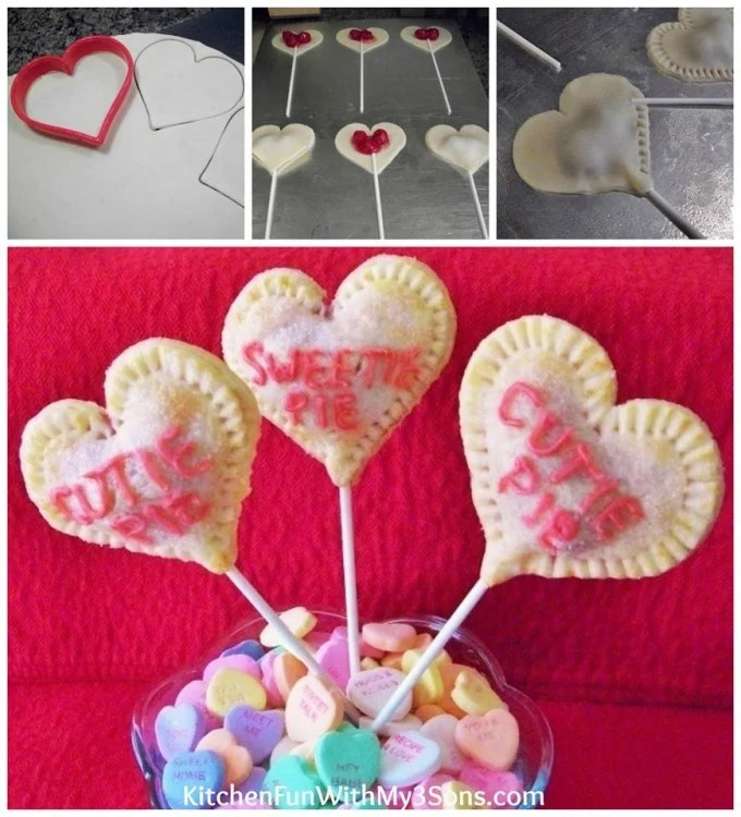 Valentine Conversation Heart Cherry Pie Pops from KitchenFunWithMy3Sons.com