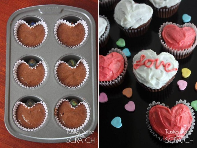 Valentine Heart Shaped Cupcakes