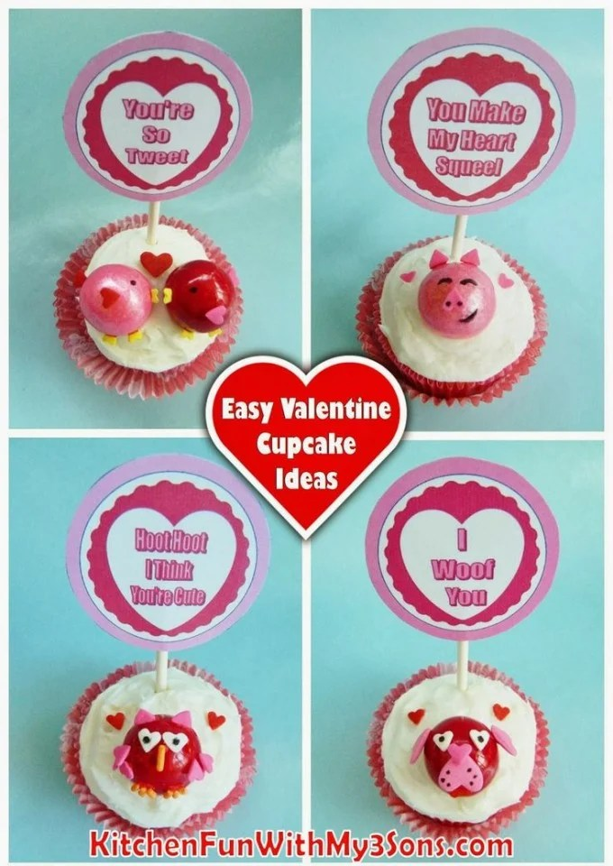 Easy Valentine's Day Cupcake Ideas for Kids from KitchenFunWithMy3Sons.com