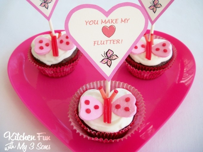 You Make My Heart Flutter Valentine Butterfly Cupcakes from KitchenFunWithMy3Sons.com