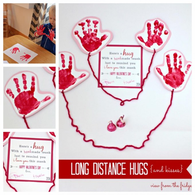 Long Distant Hugs Handprint Card for Valentine's Day