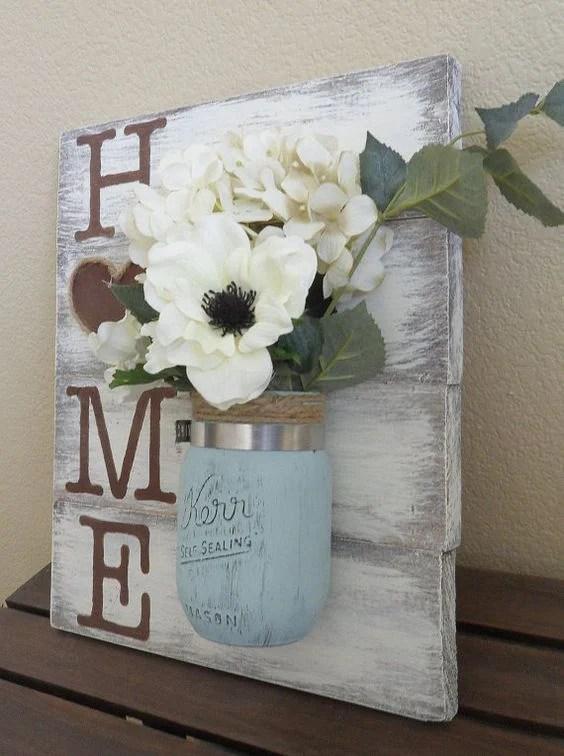 "Mason Jar Flowers ""Home"" Wood Wall Hanging"