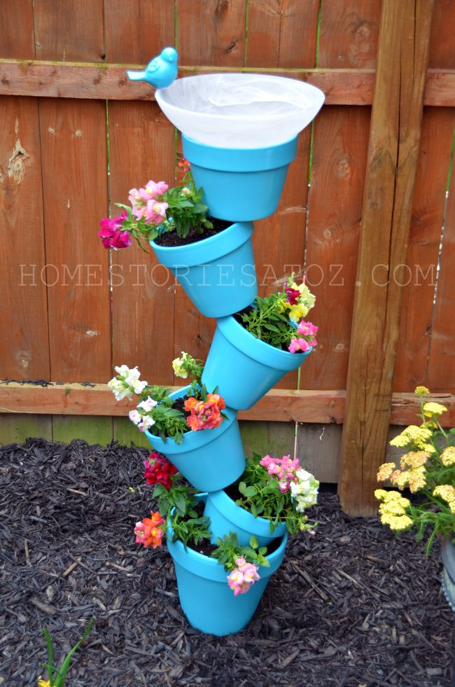 DIY Garden Flower Pot Bird Bath for a fun Spring project!