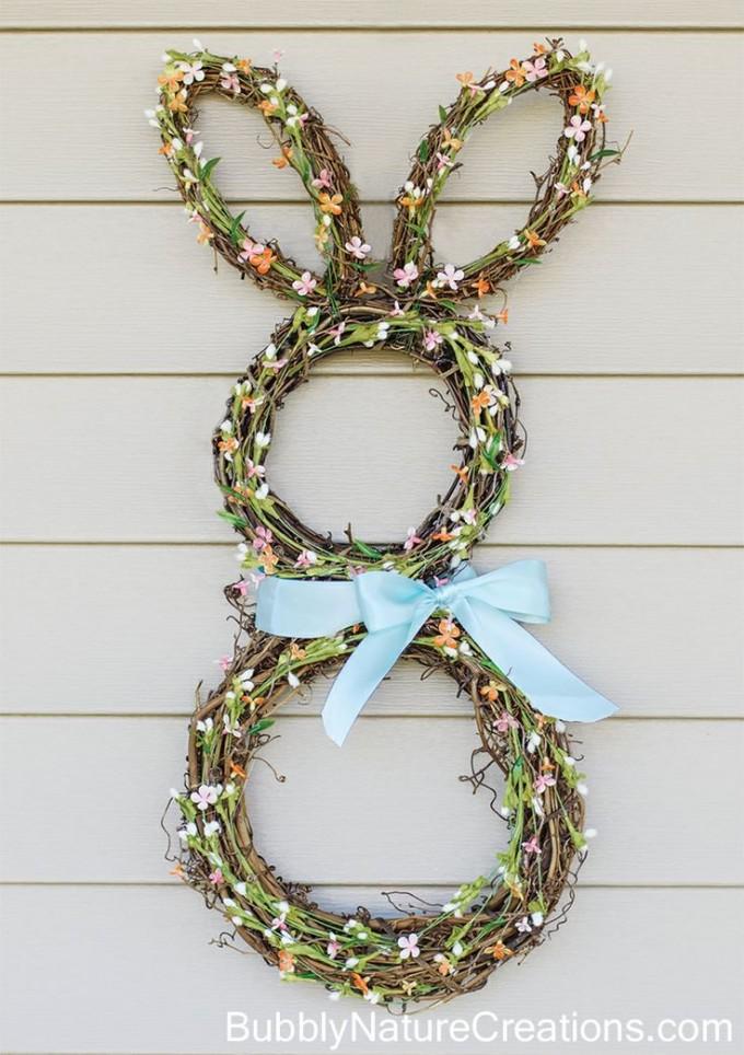 DIY Bunny Burlap Wreath for Easter!