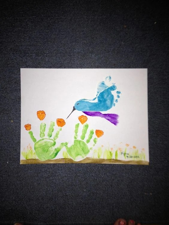 Handprint Flowers & Footprint Bird....these are adorable Hand & Footprint ideas!