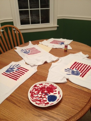 Handprint American Flag T-Shirt for 4th of July...these are the BEST Hand & Footprint Ideas!