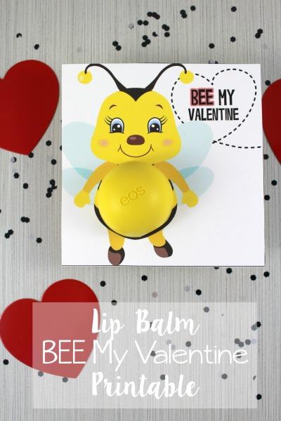 Bee My Valentine Lip Balm Free Printable
