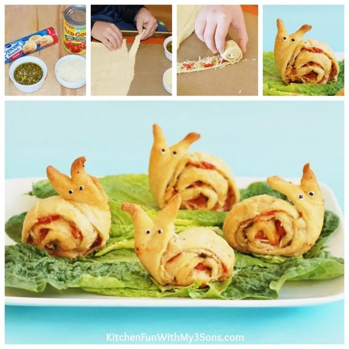 Snail Pesto Pinwheels Appetizer from KitchenFunWithMy3Sons.com