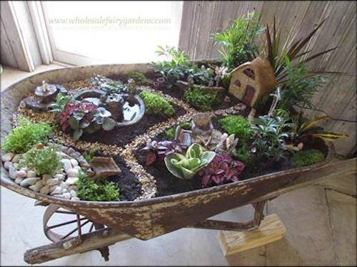 Wheelbarrow Succulent Fairy Garden