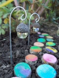 Acorn Crystal Fairy Lights with a Painted Log Walkway...so cute!