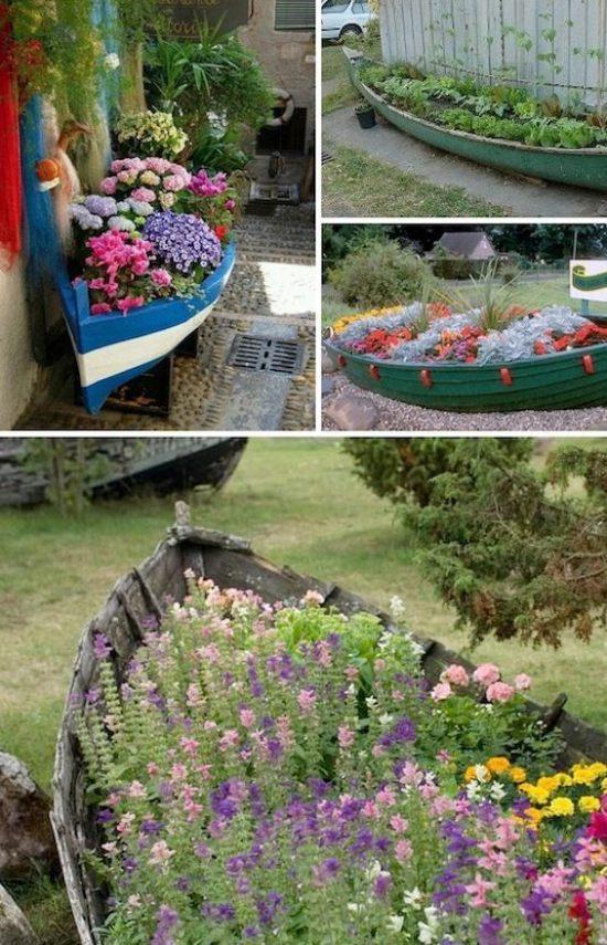 barca in legno trasformata in originalissima fioriera