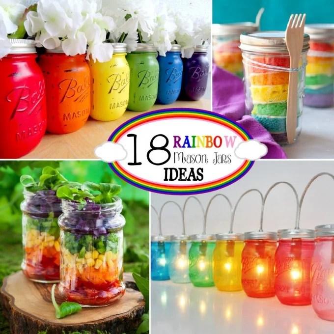 Rainbow Mason Jar Ideas