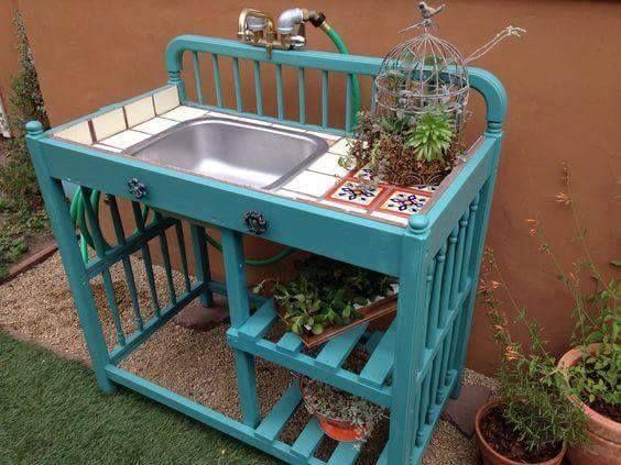 Old Crib into Potting Bench