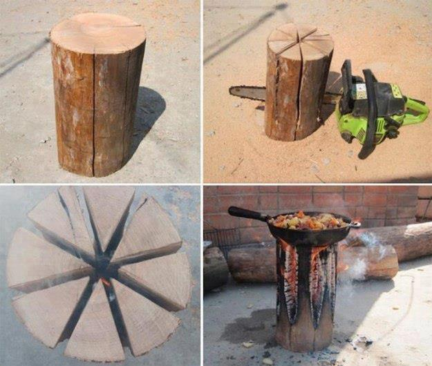 DIY Cooking on a Log...so many awesome Camping Ideas!