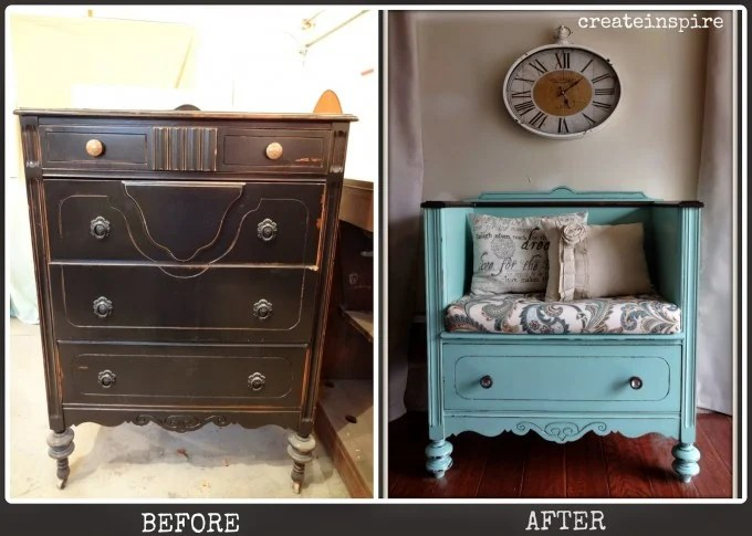 Turn an Old Dresser into a Day Bench...awesome Upcycled Furniture Ideas!