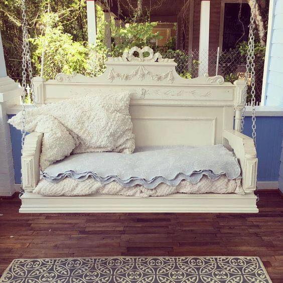 Antique Headboard made into a Porch Swing....these are the BEST Upcycled & Repurposed Ideas!