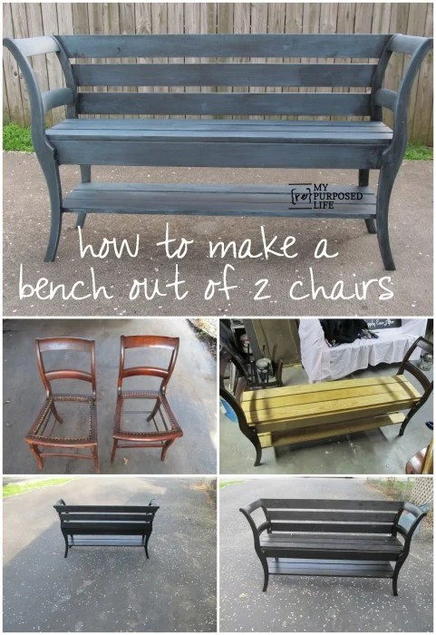 Turn 2 Old Chairs into a Bench...awesome Upcycle Ideas!