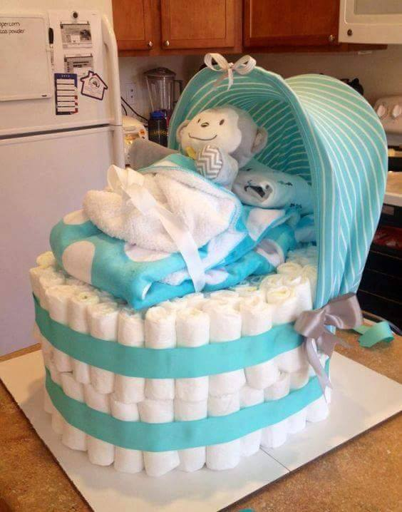 Monkey Baby Diaper Cake...these are the BEST Baby Shower Ideas!