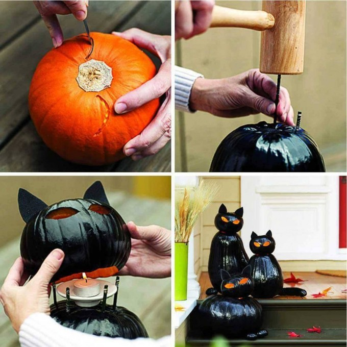 Black Cat Jack-O-Lantern...these are the BEST Decorated & Carved Pumpkin ideas for Halloween!