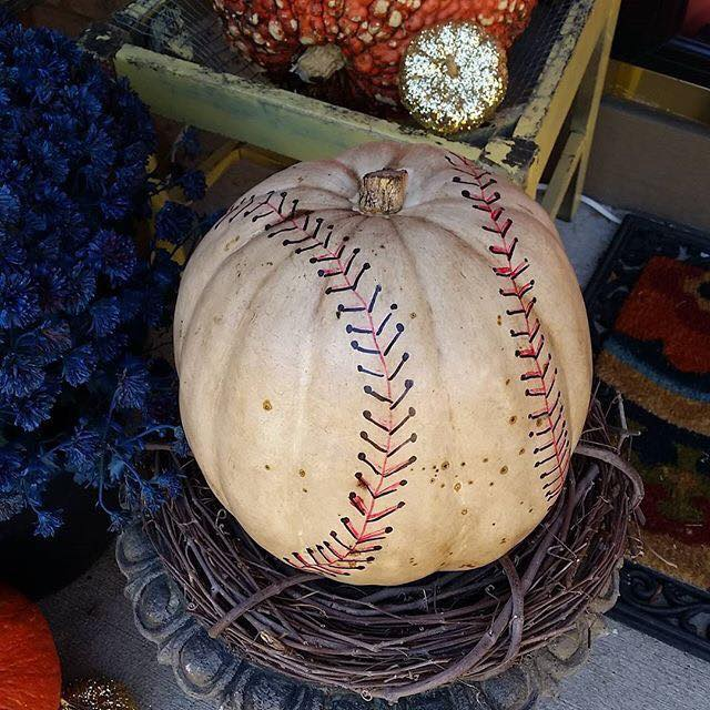 Baseball Pumpkin...these are the BEST Decorated & Carved Pumpkin Ideas!